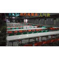 休闲大型工厂饭堂餐桌椅 美观快餐店桌椅组合 4 6 8 10人多人位连体餐桌 广东热销康腾体育