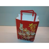 供应奇华月饼高档白牛皮印刷环保纸袋 定制手提纸袋 机制袋