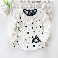 外贸童装 女童 韩版可爱蕾丝时尚全棉儿童长袖T恤 中小童打底衫