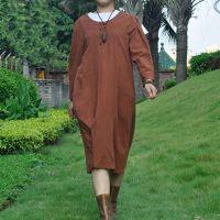 例外风格 无有布衣大码亚麻宽松袍子 长袖圆领亚麻连衣裙袍子