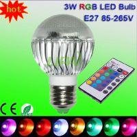 工厂直销10WRGB球泡灯16色IR遥控LED七彩GU10b22E27珠点七彩球泡