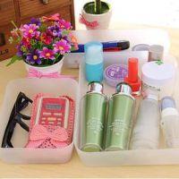 日式家居 抽屉餐具桌面杂物整理盒 透明塑料收纳盒自由分隔单个装