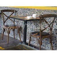 美式铁艺复古桌子 实木餐厅家具做旧实用咖啡厅餐桌