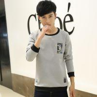 新款韩版时尚潮流长袖保暖T恤圆领衣服秋冬打底衫青年男装J12Y15