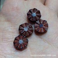【檀之香】印度小叶紫檀雕件 手工雕刻八卦花形小配件DIY水晶手链