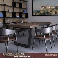 美式乡村复古实木铁艺餐桌椅烦饭桌酒吧办公桌酒店桌电脑桌长方形