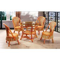 印尼藤编茶桌椅五件套 福字茶台 童椅 藤编小椅子 佛山制造