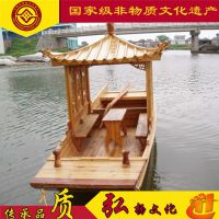 河南景区观光木船电动游船中式手划船农庄休闲客船
