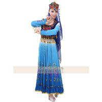 艺晨舞悦新疆舞蹈服蓝色民族舞服长裙定制新疆舞蹈服装