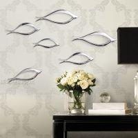 电镀壁饰小鱼抽象树脂雕塑墙上挂饰挂件装饰品创意银色缕空鱼壁挂