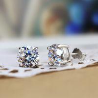 施华洛925纯银 八心八箭钻石 情侣   四爪镶钻男女款耳钉耳环