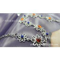 【昌威】 天然琥珀青金复古花朵925女式银手链