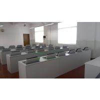 科桌翻转式电脑桌 双人电教室翻转桌 多媒体培训电脑桌