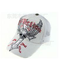 潮人帽子白色刺绣骷髅嘻哈卡车帽网帽棒球帽鸭舌帽 夏季男士女士