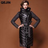 QEJIN厂家批发羽绒服立领毛呢拼接加厚保暖长款羽绒服女新款潮