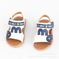 2015夏新款童鞋批发 男童凉鞋1-3岁 真皮漏趾宝宝沙滩鞋软底防滑