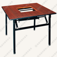 电磁炉餐桌 火锅餐厅实木桌子 快餐厅火锅餐桌