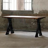 新品推荐 美式乡村复古实木餐桌 海德利创意铁塔做旧桌脚咖啡桌