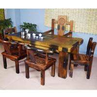 竹石图天然茶桌专卖店 老船木茶几厂家特价包邮黑金石茶海台大茶桌