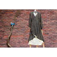 原创棉麻女装中式复古亚麻长袍宽松收腰连衣裙袍子