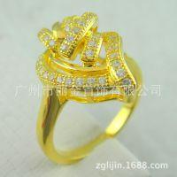 丽金LI JIN 韩版个性时尚纯银电镀黄金首饰 精致气质情侣戒指