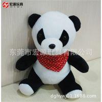 东莞厂家定制 仿真熊猫公仔带围巾熊猫毛绒玩具 塑胶眼熊猫玩偶