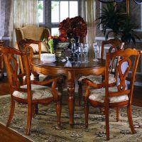 云康小屋 餐厅家具 美式全实木餐桌椅5件套 1.3米圆形餐桌 酒店别墅家具定制厂家直销