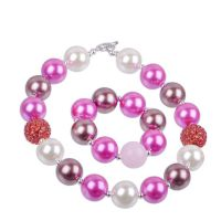 2015欧美爆款儿童项链套装 速卖通 ebay 热卖 仿珍珠女童矮胖项链
