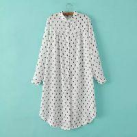2015夏季新款韩版树叶印花长袖宽松百搭超长雪纺衫衬衫女 A24171