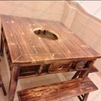 限时打折 中式八仙实木火锅桌 石锅鱼实用火锅桌椅 终身维护