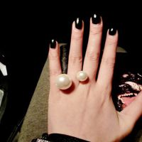 F27 韩版 大小双面珍珠戒指 来自星星的你千颂伊同款食指双头戒指
