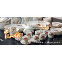 1:12 DOLLHOUSE MINIATURE娃娃屋迷你陶瓷50头茶餐具 粉色雏菊