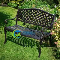 天津铸铝网格公园椅 黑色不生锈铁艺网格户外长椅 网格公园椅厂家批发