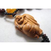 乌木串珠 布袋和尚弥勒佛汽车挂件 佛教用品 木质高档车挂吉祥物