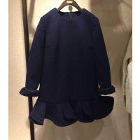 现货DAZZLE/地素同款 2014秋冬款花边深蓝色长袖连衣裙243f988