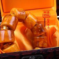 东海纯天然水晶 高仿复古波罗的海鸡油黄浮盐水老蜜蜡手链批发
