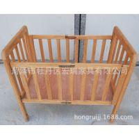 童床实木折叠婴儿床便携式婴儿折叠床木制婴儿床出口批发健康环保