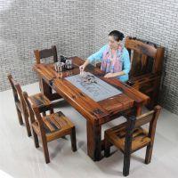 聊城厂家直销老船木茶桌特价功夫茶桌客厅茶桌椅组合图片办公室茶桌
