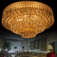现货供应 三层贴片吸顶灯家居LED水晶灯 欧式风情鎏金酒店大厅灯