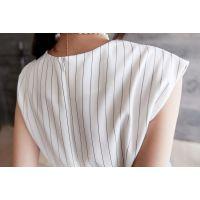 小银子2015夏装新款欧美造型竖条纹显瘦腰带无袖上衣女X5108