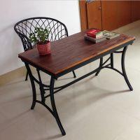海德利厂家定制 美式乡村复古餐桌 实木铁艺餐桌 批发
