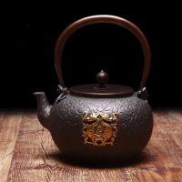 日本铁壶价格龙秀堂双龙鎏金铸铁茶壶批发里外无涂层