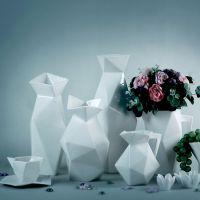 赛尔加 陶瓷时尚创意花瓶 餐桌假花花瓶 六角花瓶摆件 杯子花瓶器
