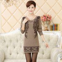 厂家直销2014韩版时尚高贵典雅妈妈装 修身圆领中长款貂绒打底衫