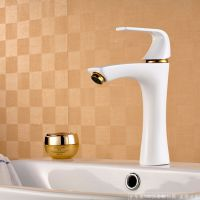 热销家装卫浴  白色烤漆系列  全铜面盆水龙头  高档欧式田园风格