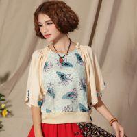 新款 民族风夏款女装 双层网纱绣花短袖雪纺衫蕾丝衫 蝴蝶袖