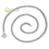 B004#S925银电镀铂金男士项链 平板银链 纯银饰品首饰 时尚韩版
