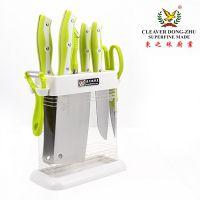 爆款 菜刀套装 绿雅亚克力座八件套 不锈钢厨房刀具套装 礼盒精装