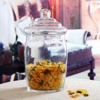 厂家直销批发 透明大号吹制玻璃带盖糖缸 储物罐 糖果罐 茶叶罐