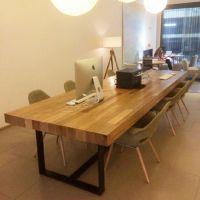 欧式北欧咖啡茶餐厅桌椅实木家具原木复古铁艺餐桌书桌会议桌